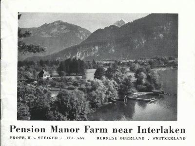 Prospekt der Pension MANOR FARM, um 1938
